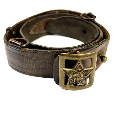 Wwii M1935 M35 Rkka Russian Commissar Leather Belt W/ Brass Buckle Red Army