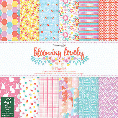 """BLOOMING LOVELY - Taster Pack of 6""""x6"""" Papers - Dovecraft"""