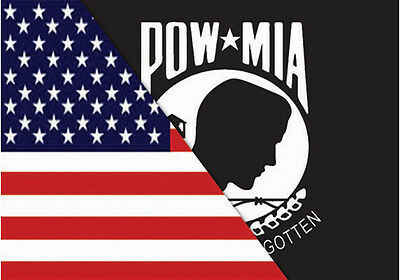 """Small Biker Flag American One Side Pow Mia Other Side Two In One Flag   6"""" X 9"""""""