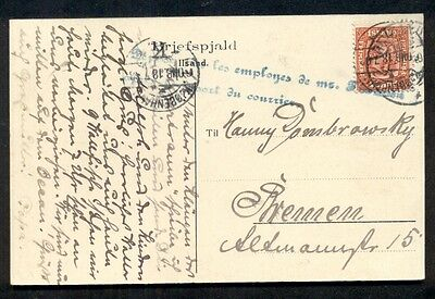 ICELAND 1908 10aur tied on postcard to Germany w/blue courier handstamp