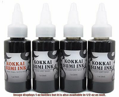 Kokkai Sumi 1oz Black & Grey 4-Pack Set: (1) Lining Ink & (3) Gray Wash Tattoo