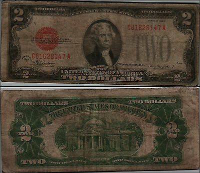 1928D $2 Dollar Bill Old Us Note Legal Tender Paper Money Currency Red Sl Y162