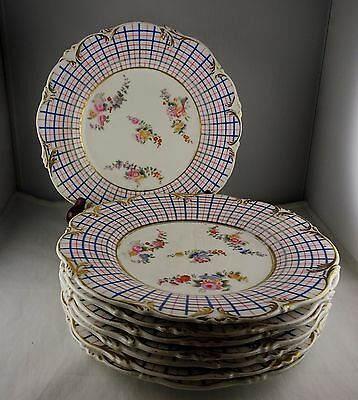 "Eight Paris Porcelain 8 7/8"" Plates Pink & Blue Plaid w/ Floral Center Gold Trim"