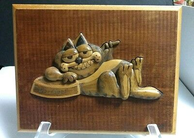 "Vtg Hand Carved 11"" x 9"" High Relief GARFIELD the Cat 3D Inlaid Wood Wall PLAQUE"