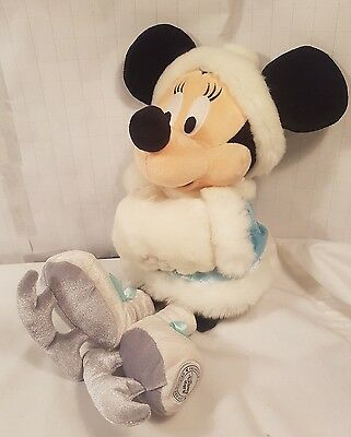 """Disney Store 16"""" Minnie Mouse skating blue winter snow soft plush toy muff"""