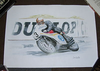 MIKE HAILWOOD HONDA Racing Number 3 PRINT JIM DUFFY ARTIST