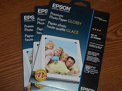 "Epson Photo Paper 5"" X 7"" 20 Sheets S041464 New"