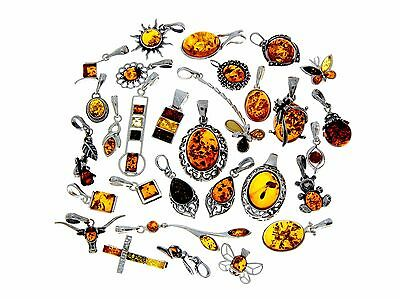 WHOLESALE JOB LOT 30 Baltic Amber & 925 Solid Sterling Sterling Silver PENDANTS