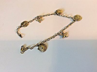 "Vintage 14K Yellow Gold 8"" Seashell And Sand Dollar Bracelet Not Scrap"