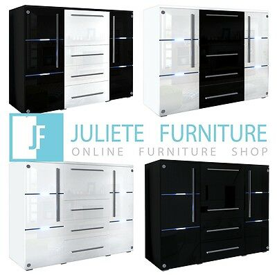 Modern MDF Cabinet Door Glass Chest of drawers WHITE and BLACK HIGH GLOSS_LED