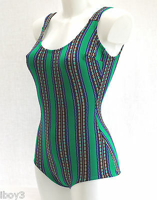 60's VINTAGE CLASSIC FITTED STYLE LADIES SWIMMING COSTUME SWIMSUIT 10 - 12 NEW