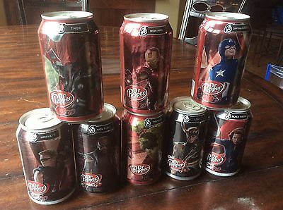 Set Of 8 Dr. Pepper Avengers Series Cans Bottom Drained - Free Shipping