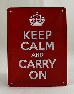 Superb Embossed 'Keep Calm and Carry On' Tin Plate Wall Sign 20cm x 15cm Wartime
