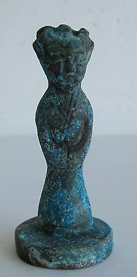 Antique Chinese Cast Bronze Robed Figural Handle Paste Wax Seal SIGNATURE