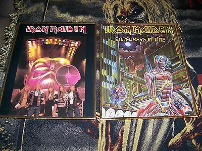 Vintage 80s IRON MAIDEN 16X20 Framed Carnival Prize Poster Lot SOMEWHERE IN TIME