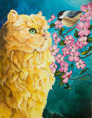 EYE TO EYE Persian CAT  with Chicksdee 14x18 Framed  Art Painting Sherry Shipley