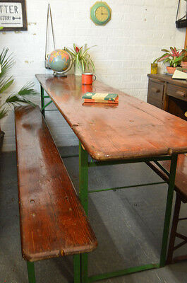 1 x Vintage German Keller Folding Benches + Table Set Dining