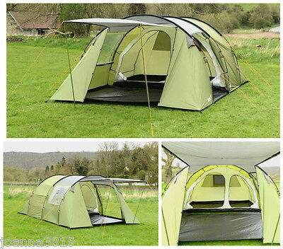 GELERT Quest 5 Person Tent 2 Bedroom Tunnel Large Porch Area Breathable Mesh
