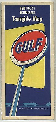Vintage 1950's Road Map KENTUCKY & TENNESSEE - GULF OIL - Tourguide Map