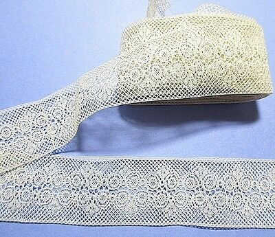 IVORY ECRU VICTORIAN LACE=TOTAL OF 8 ft. 9 in.=2  SPLICED PIECES= DOLL=DRESS