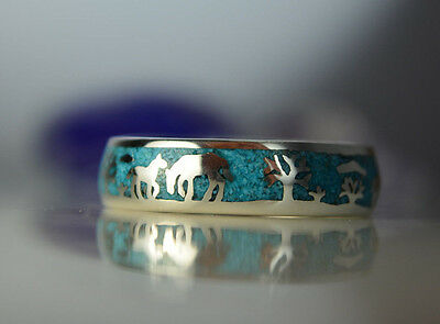 Sterling silver band of horses ring w/ inlaid crushed Turquoise Size-5.5 thru 15