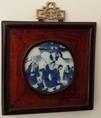 "Genuine Chinese antiuqe Porcelain Painting With Nice Frame 18THC ""KANGXI""康熙"