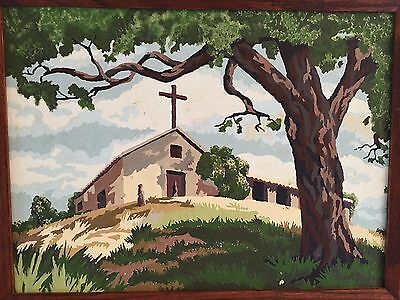 Vintage 1950's Paint by Numbers Painting Country Church Hill Tree Framed 15 X 19