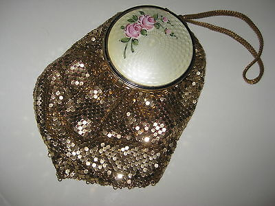 Vintage Evening Bag Purse Vanity Compact Gold MESH GUILLOCHE Antique evans Case