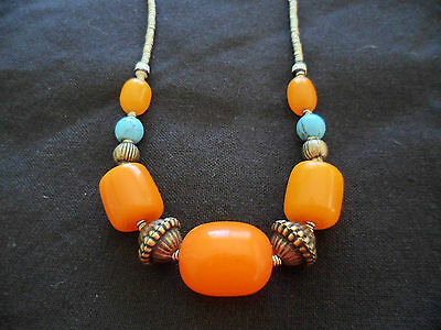 VINTAGE AMBER and TURQUOISE SILVER WIRE BEAD ETHNIC TRIBAL OLD NECKLACE