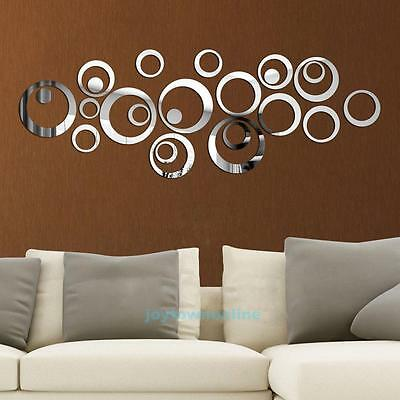 24Pcs Circles Mirror Style Removable Wall Sticker Decal Set Home Mural Art Decor