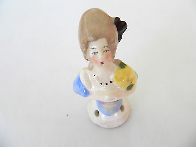 Antique Vintage Old Half China Bisque Lady Doll For Sewing Fabric Pin Cushion