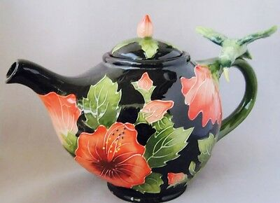 Blue Sky Jeanette McCall Icing on the Cake HIBISCUS Humming Bird Tea Pot