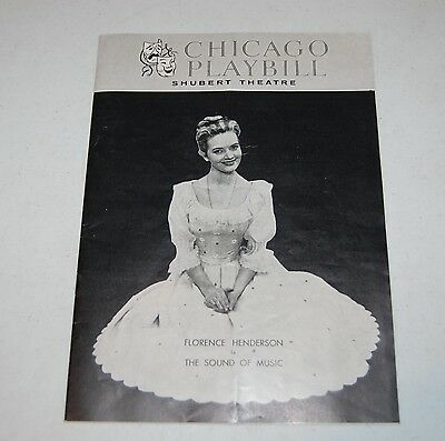 Chicago Playbill Shubert Theatre - The Sound Of Music - Florence Henderson 1962