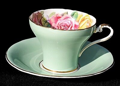 Aynsley Large Cabbage Rose Yellow Pink & Red Burgundy Tea Cup & Saucer