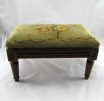 Small Antique French Country Walnut Carved Bench Foot Rest in Old Needlepoint