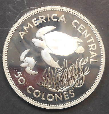 Costa Rica   1974 Green Turtle  50 Colones Silver Proof Coin