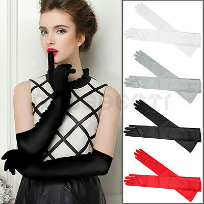 Long Finger Gloves Satin FOR Ladies Evening Party Wedding Bride Dress Red Black