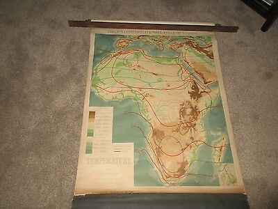 1920's PULL DOWN DENOYER-GEPPERT Temperature Map Africa - Climate Change