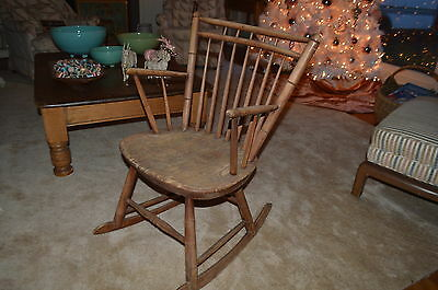 Authentic Antique 1800's New England Windsor Birdcage Chair/Rocker