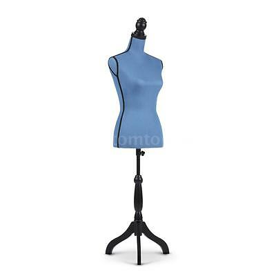 Linen Fabric Female Mannequin Torso Dress Form Adjustable Sturdy Tripod Stand LS