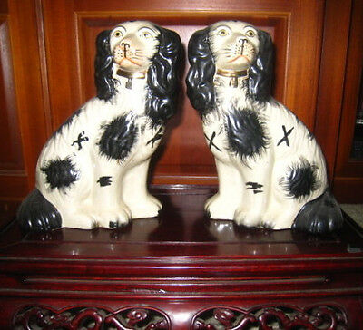 """Pair of Old Staffordshire Style Spaniels  9"""" Tall"""