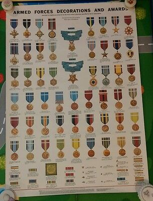 Wwii Armed Forces Decotations Awards Poster Air Force Navy Marines Vietnam 1963*