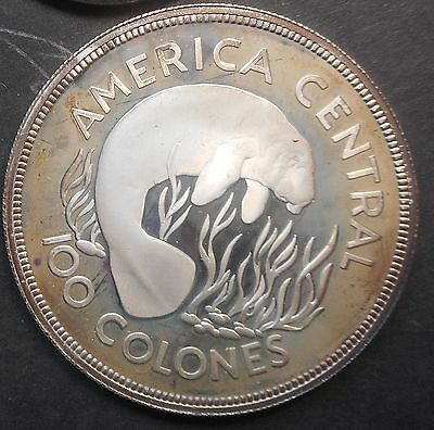 Costa Rica   1974 Manatee   100 Colones Silver Proof Coin Conservation Toned