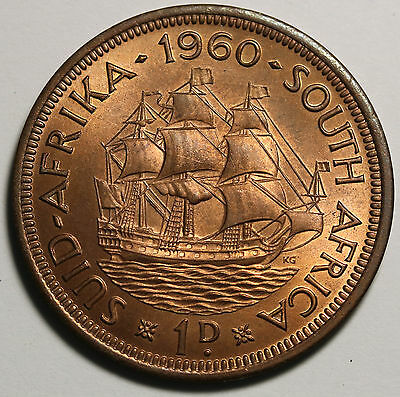 1960 South Africa Penny UNC Coin KM# 46 Hern#S120 Dromedaris Ship