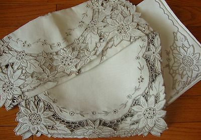 Vintage Embroidered Madeira Table Linens Set of 8 Placemat Napkins Table Runner