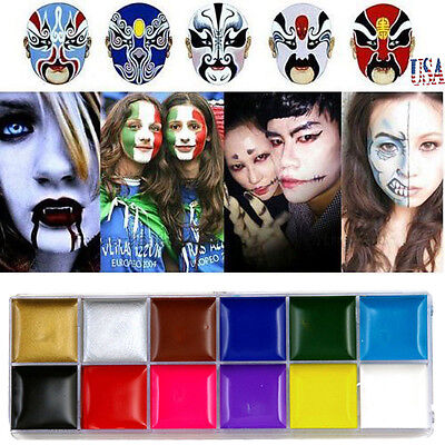 US Professional Face Body Paint Oil Painting Art Make Up Halloween Party Kit Set