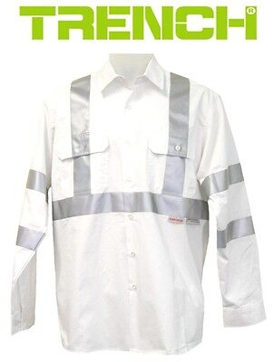 2 pcs x cotton work shirt long sleeve with 3m reflective for White cotton work shirts