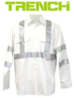 2 PCS x Cotton Work Shirt Long Sleeve With 3M Reflective Tape - White