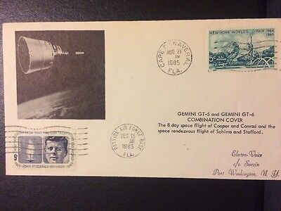 Gemini 5 & Gemini 6 Combination Sarzin Space Cover: 2 Launch Events, 2 Postmarks