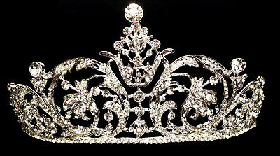Silver Bridal Pageant Wedding Prom Crystal Princess Crown Tiara Headpiece A14